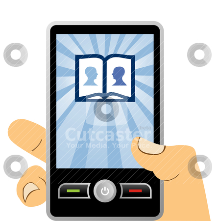 Phone mobile: connecting to social network stock vector clipart, connected to the social network with mobile phone, vector available by Cienpies Design