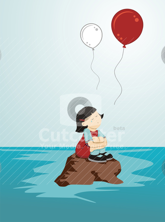 Crying girl for Japan stock vector clipart, Girl crying sitting on a rock while loose balloons in the colors of Japan by Cienpies Design