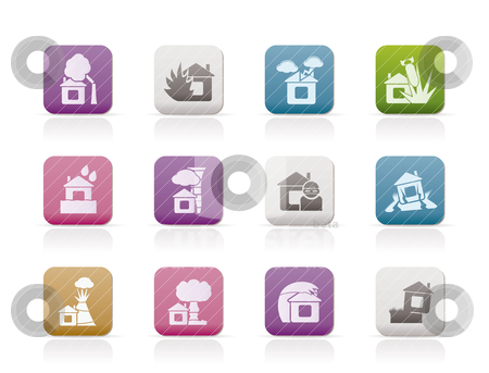 Home and house insurance and risk icons stock vector clipart, home and house insurance and risk icons - vector icon set by Stoyan Haytov