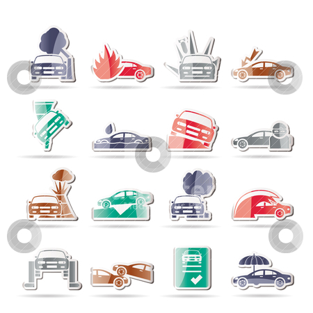 Car and transportation insurance and risk icons  stock vector clipart, car and transportation insurance and risk icons - vector icon set by Stoyan Haytov