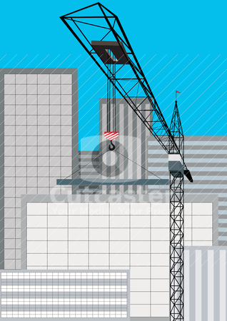 Building stock vector clipart, Construction of new housing. Tower crane lifts the load. by Sergey Skryl