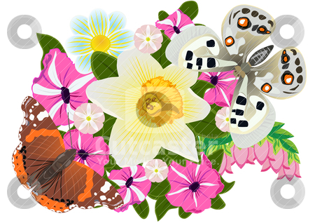 Butterflies and flowers stock vector clipart, On a bouquet of flowers sitting two butterflies by Sergey Skryl