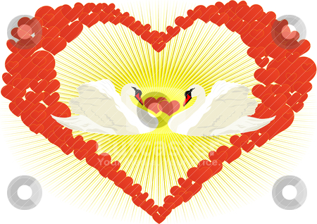 Couple in love stock vector clipart, Two white swans in an abstract heart of hearts by Sergey Skryl