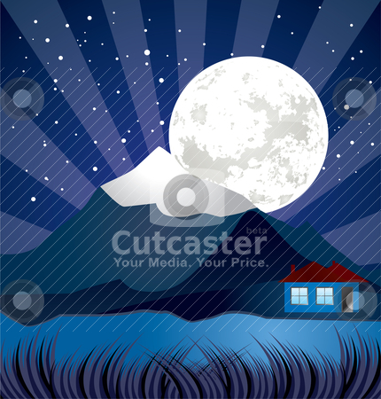 Night landscape with river - vector, stars and moon illustration stock vector clipart, night landscape with river - vector, stars and moon illustration by Stoyan Haytov