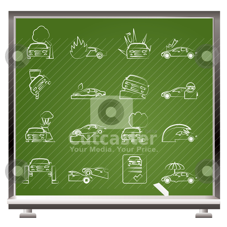 Painted with chalk car and transportation insurance and risk icons  stock vector clipart, painted with chalk car and transportation insurance and risk icons - vector icon set by Stoyan Haytov