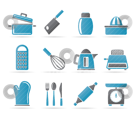 Kitchen and household Utensil Icons  stock vector clipart, Kitchen and household Utensil Icons - vector icon set by Stoyan Haytov