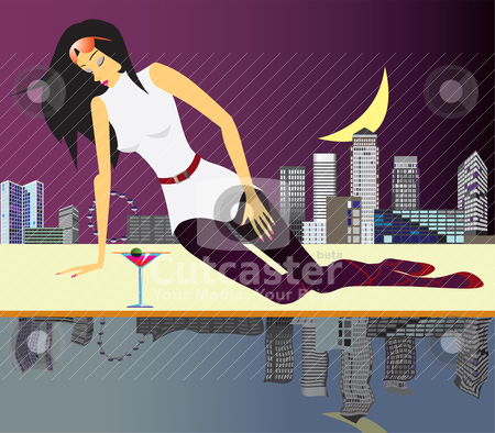 Party girl in london stock vector clipart, party girl in london - vector illustration by Stoyan Haytov