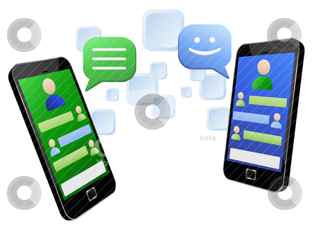 Chatting through touch screen smart phones stock vector clipart, Vector illustration of social media messaging between two modern touch screen mobile phones. Vector EPS8 file layered and grouped for easy editing by Sauromatum Design