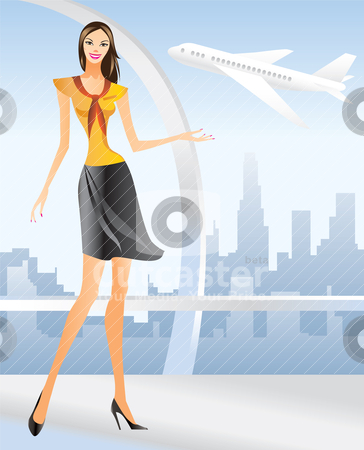 Beautiful Stewardess at the airport in Los angeles stock vector clipart, beautiful Stewardess at the airport in Los angeles - vector illustration by Stoyan Haytov