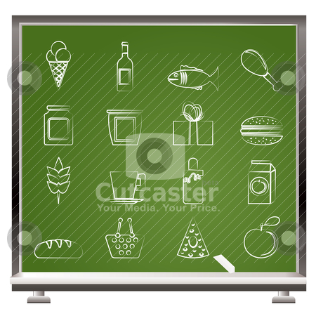 Painted with chalk shop, food and drink icons  stock vector clipart, painted with chalk shop, food and drink icons - vector icon set by Stoyan Haytov