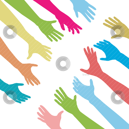People hands reach out across unite connect stock vector clipart, Diverse people hands reach out across a division gap to unite connect help by Michael Brown