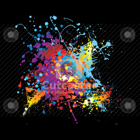 Splat ink rainbow stock vector clipart, Abstract rainbow ink splat black background with room for text by Michael Travers