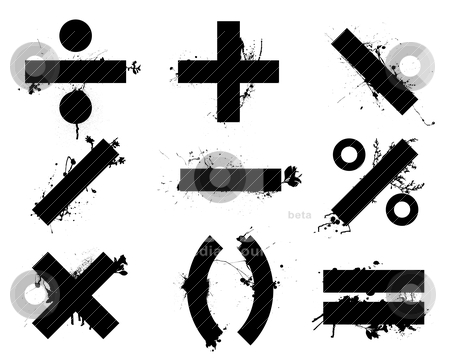 Math symbols stock vector clipart, Grunge black school math symbols or icons with floral elements by Michael Travers