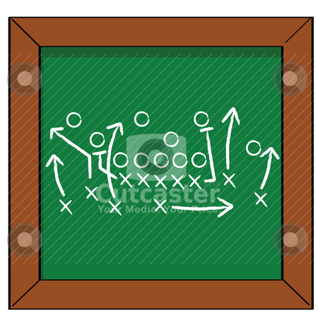 Game plan stock vector clipart, Cartoon illustration of a football game plan on a blackboard by Bruno Marsiaj