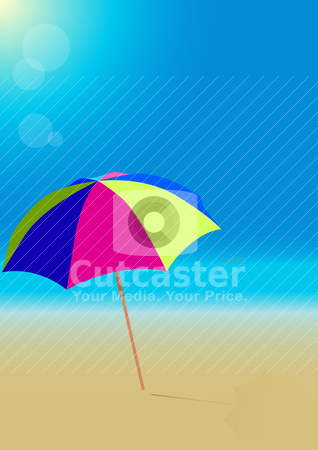 Beach stock vector clipart, Summer Background - Beach Umbrella on Empty Sandy Beach by JAMDesign