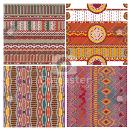 Set of seamless ethnic background stock vector clipart, abstract vector set of seamless ethnic background by SelenaMay
