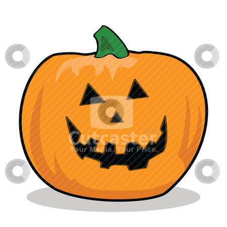 Cartoon Jack-o'-Lantern stock vector clipart, Cartoon illustration of a carved pumpkin for Halloween by Bruno Marsiaj