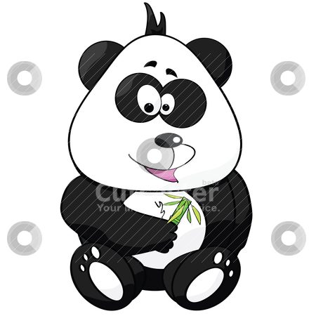 Cartoon panda stock vector clipart, Cartoon illustration of a cute panda holding a bamboo shoot with leaves by Bruno Marsiaj