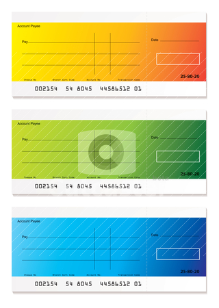 Modern payment cheque stock vector clipart, Brightly colored check payment with room to add your own amount by Michael Travers