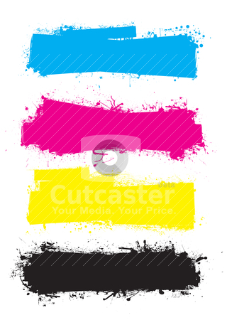 Splat roller banners cmyk stock vector clipart, Splat banner cmyk ink grunge effect with space for text by Michael Travers