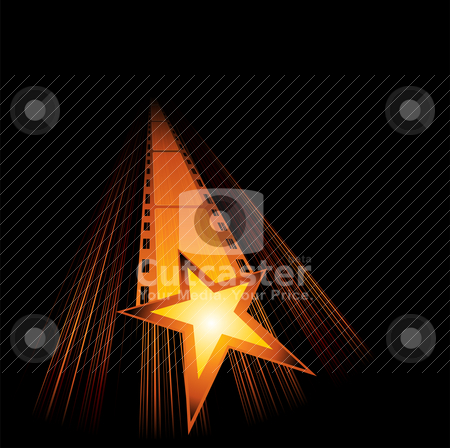 Upcoming new movies  stock vector clipart, Big gold star with film are coming  by Oxygen64