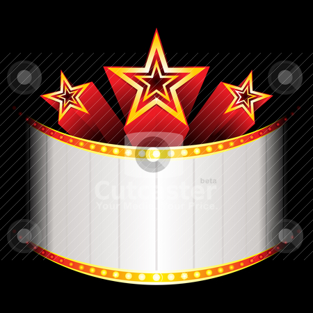 Blockubuster with stars  stock vector clipart, Three stars over neon with place for text  by Oxygen64