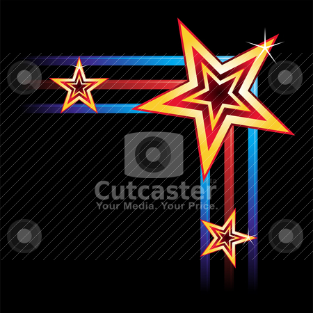 Neon corner  stock vector clipart, Corner of frame created of stars and neon elements  by Oxygen64