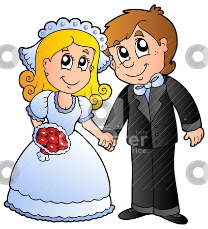 Cute wedding couple stock vector clipart Cute wedding couple vector