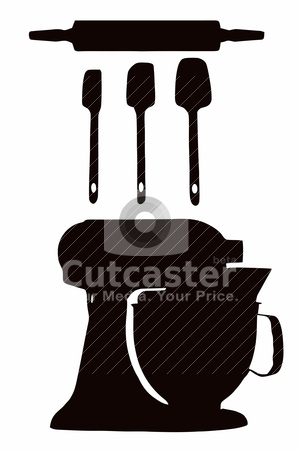 Cookware Silhouette stock vector clipart, Cookware silhouette with spatula, rolling pin and cake-mixer by Snap2Art