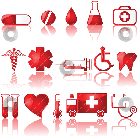 Medical icons stock vector clipart, Glossy set of different medical related icons by Bruno Marsiaj
