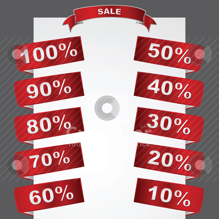 Sale tags stock vector clipart, Metallic sale tags showing different degrees of discounted merchandise by Bruno Marsiaj