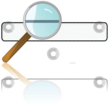 Searching stock vector clipart, Glossy illustration of a magnifying glass over a search box by Bruno Marsiaj