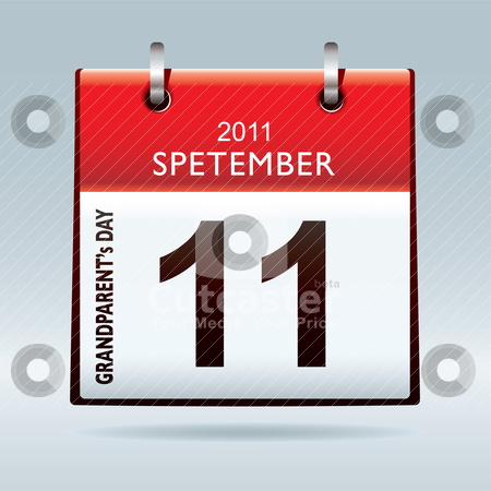 Grandparents calendar icon stock vector clipart, Celebrate grandparents day with this red calendar icon in september by Michael Travers