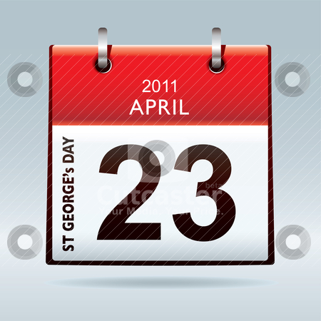 St Georges day calendar icon stock vector clipart, St georges day calendar icon bank holiday concept by Michael Travers