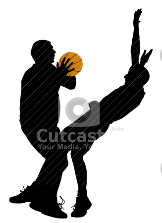 Basketball offense stock vector clipart, Illustration of a basketball offense on isolated white background. In EPS vector file silhouette of offensive player can be separated object. by Edvard Molnar
