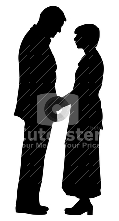Couple stock vector clipart, Silhouette of a couple on isolated white background. EPS file available. by Edvard Molnar