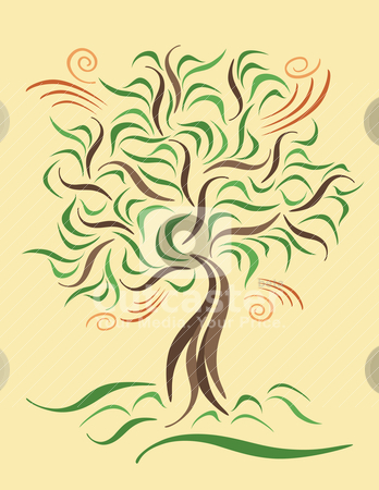 Tree on a Windy Day stock vector clipart, Vector illustration of a stylized tree on a windy day. by Lisa Fischer