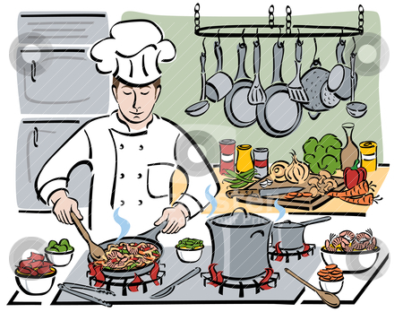 The Consummate Chef stock vector clipart, Vector illustration of a professional chef preparing shrimp with pasta and vegetables in a restaurant kitchen. by Lisa Fischer