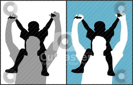 Father and son stock vector clipart, Two versions of a father and his son are on isolated white background and blue background. EPS file available. by Edvard Molnar