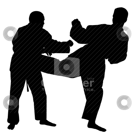 Karate fight stock vector clipart, Silhouettes of two karate fighters on isolated white background. EPS file available. by Edvard Molnar
