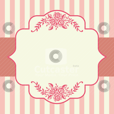 Vintage roses pink frame stock vector clipart, Ornamental victorian roses pink frame with space for your text, logo or design. All elements are on separate layers for easy editing and color change. by Ela Kwasniewski