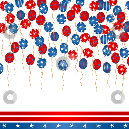 4th of July stock vector clipart, Background illustration with colored balloons, stars and stripes for 4th Of July Day by Richard Laschon