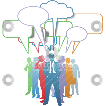 Business people colors communication speech bubble stock vector clipart, Group of colorful business people network and communicate in speech bubbles. by Michael Brown
