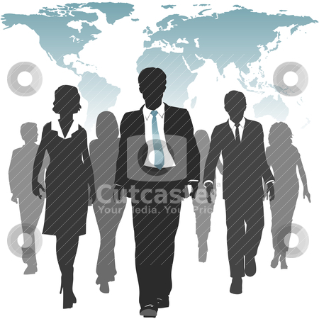 World work force business people human resources stock vector clipart, International work force of business people walks forward under a world map. by Michael Brown