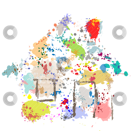 House Paint Drops Splatter Grunge Home Abstract stock vector clipart, A house shape paint drops spatter splatter effect abstract painting of a home. by Michael Brown