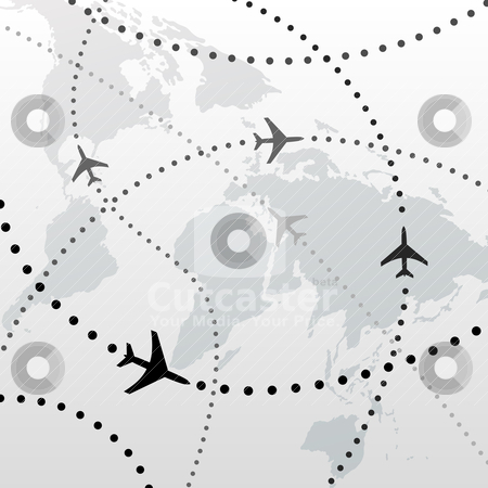 World Airplane Flight Travel Plans Connections Stock Vector