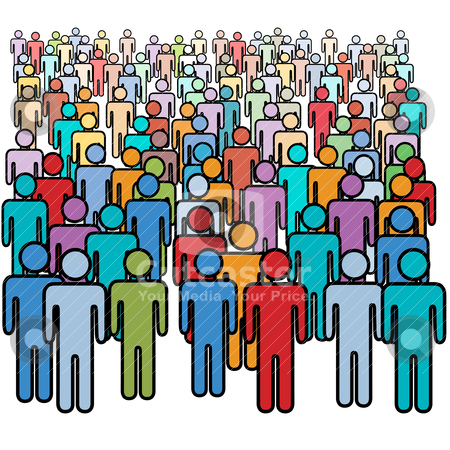 Big crowd of many colors social people group stock vector clipart a