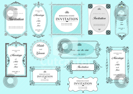 Set of ornate vector frames and ornaments with sample text. Perf stock vector clipart, Set of ornate vector frames and ornaments with sample text. Perfect as invitation or announcement. All pieces are separate. Easy to change colors and edit. by Leonid Dorfman