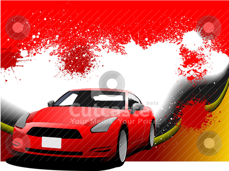 Grunge abstract hi-tech  background with car coupe image. Vector stock vector clipart, Grunge abstract hi-tech  background with car coupe image. Vector illustration by Leonid Dorfman