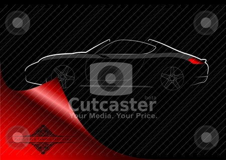 White silhouette of car sedan on black background. Vector illustration stock vector clipart, White silhouette of car sedan on black background. Vector illustration by Leonid Dorfman